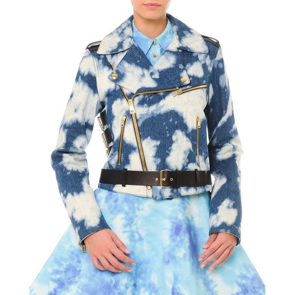 Fausto Puglisi Bleached Cloud-Print Denim Moto Jacket (£775) ❤ liked on Polyvore featuring outerwear, jackets, black denim, motorcycle jacket, black jacket, bleached denim jacket, biker jacket and quilted jacket