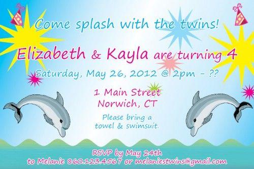 Custom printable designed dolphin theme birthday party invitation custom printable designed dolphin theme birthday party invitation filmwisefo