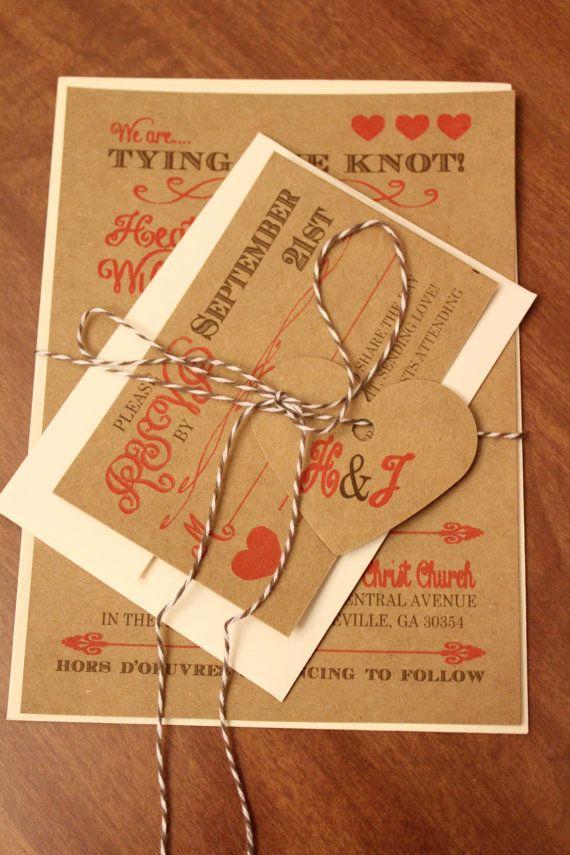wedding stationery free printable%0A Tying the Knot Kraft Wedding Invitation and RSVP Card  Printable Design or  Invitation Deposit sur Etsy   u  ac