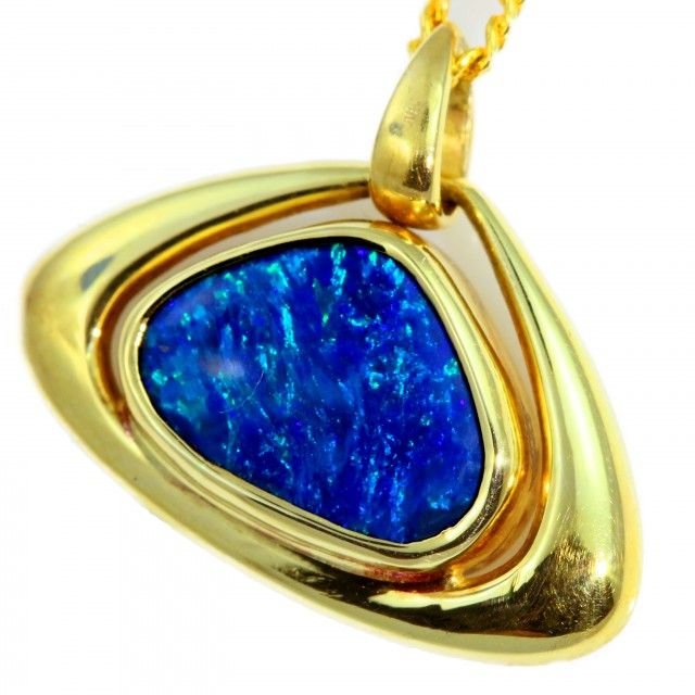amazing solid black opal set in 18k yellow gold pendant cf1282 rh pinterest com