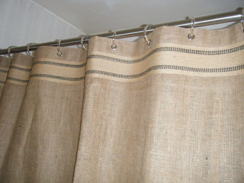 Custom Order For Brynne Burlap Shower Curtain 72 X 72 Grommet