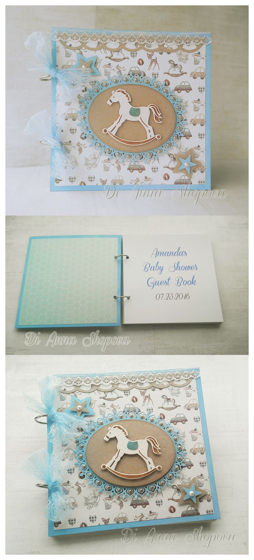 unique homemade baby shower invitation ideas%0A Shabby Chic look Baby Boy Shower Guest Book  Unique personalized baby shower  wish book  D