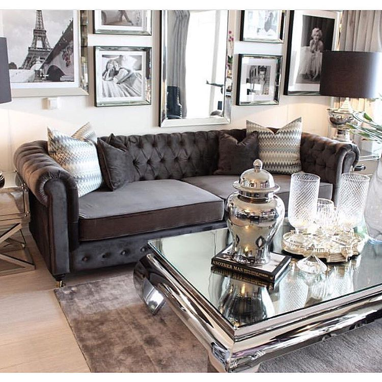 silver glass living room furniture%0A Love the rolled arm tufted couch and mirrored coffee table