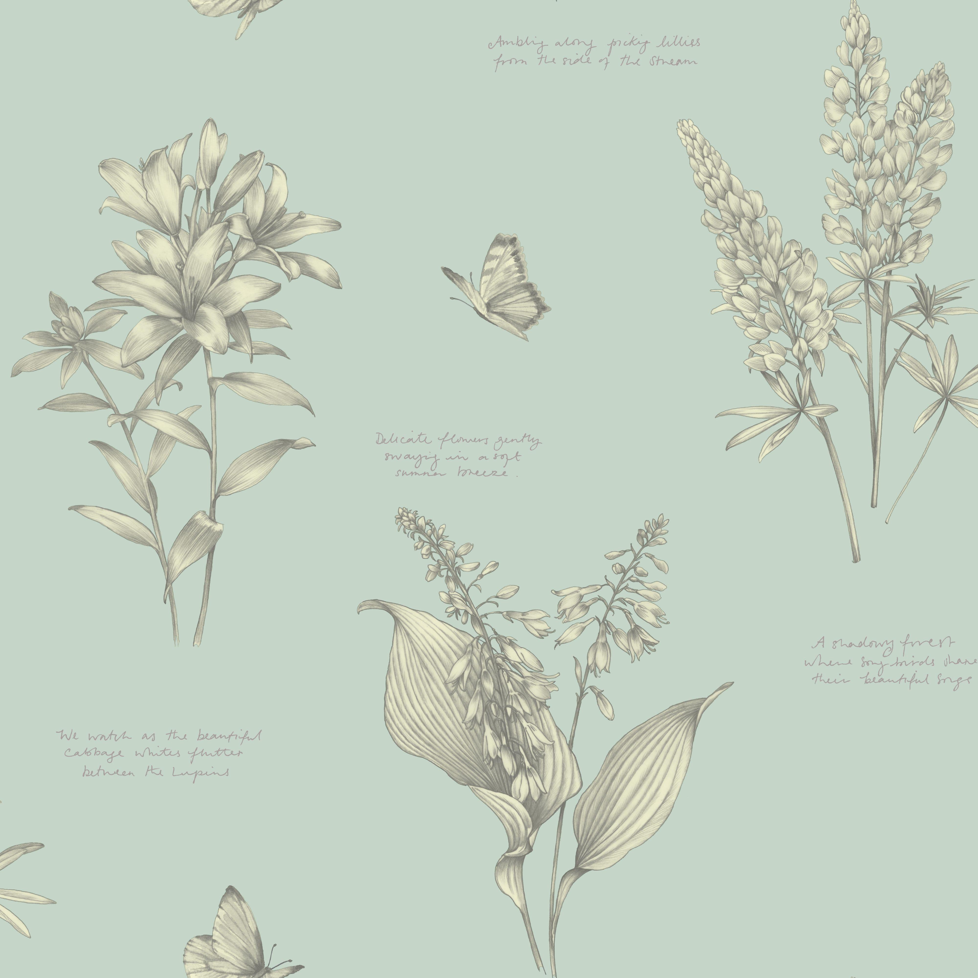Linnaeus Duck Egg Wallpaper Departments DIY at B&Q