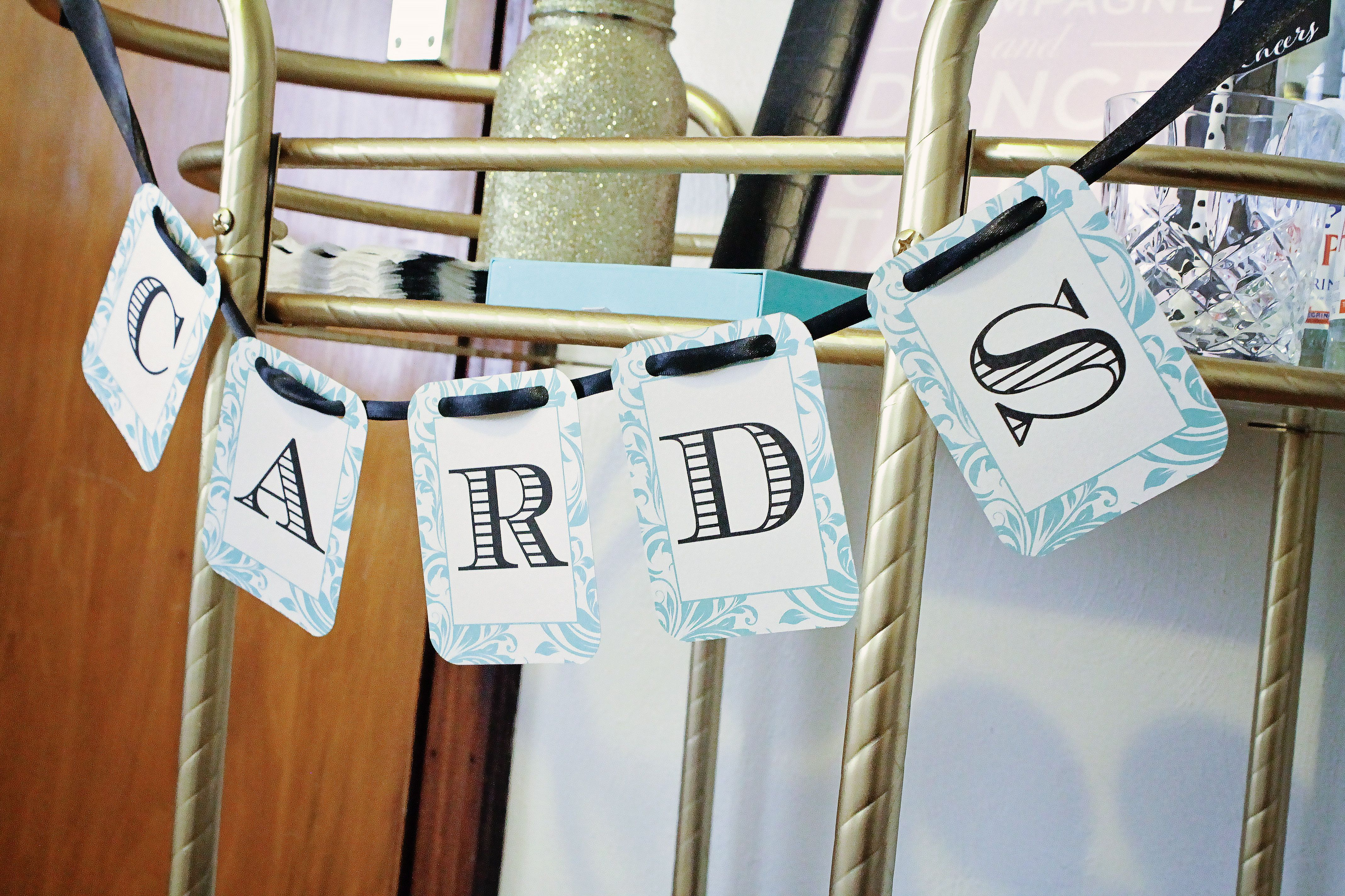 wedding invitations gifts%0A Flourish Tiffany Blue and Black Card  u     Gift Table Banner Sign  DGD  Invitations