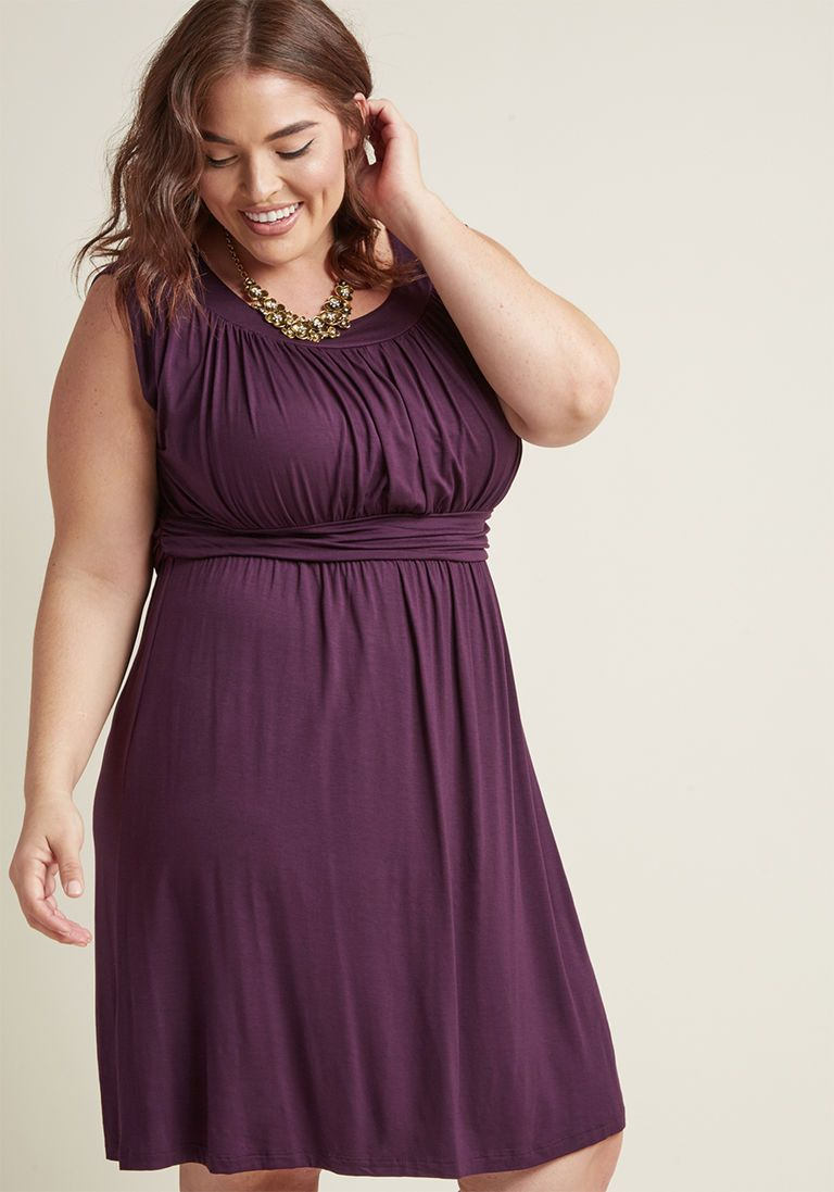 51410339712 I Love Your Jersey Dress in Plum in 1X - Sleeveless A-line Knee Length