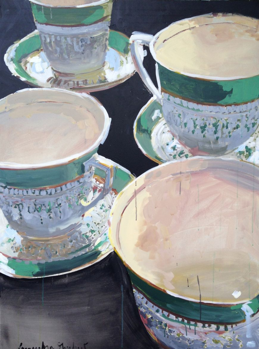 Tea Cups and Saucers Green by the