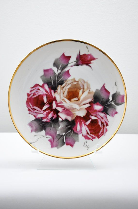 Vintage Hand Painted Rose Plate with Gold Rim Accent/ Rose Flower Plate Collectible/ Decorative & Vintage One of a Kind Hand Painted Rose Plate with Gold Rim Accent ...