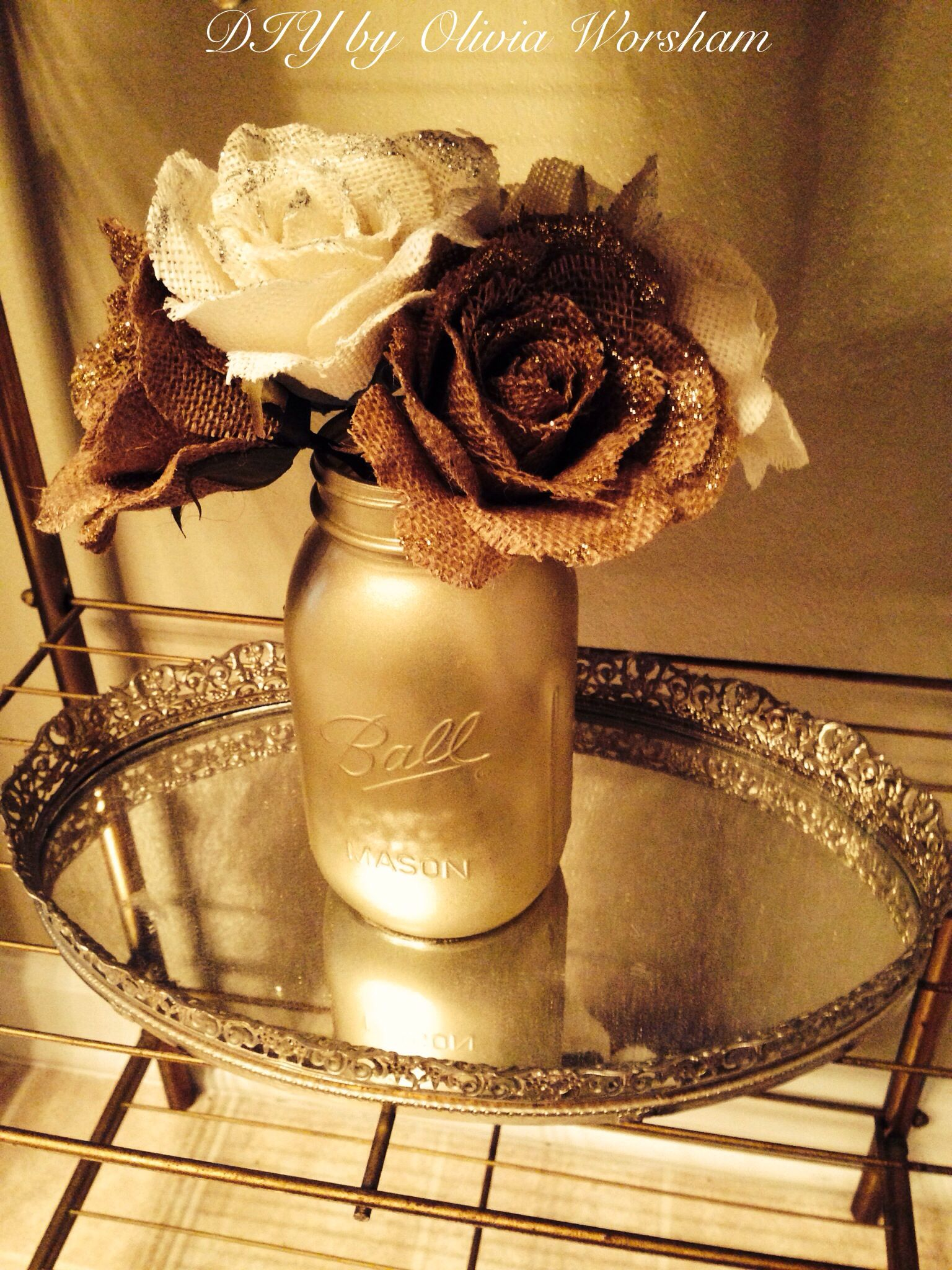 Glitter burlap flowers in champagne spray painted mason