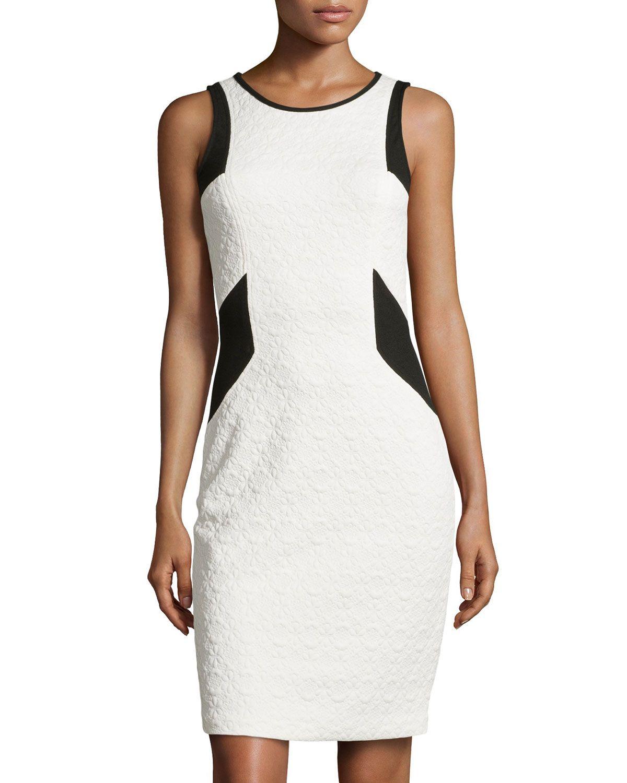 Laundry by Shelli Segal Floral-Jacquard Sleeveless Dress, Warm White/Black