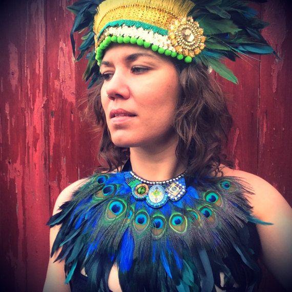 Babero festival de la pluma de pavo real pavo real y turquesa