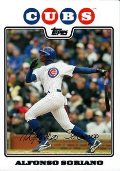 2008 Topps Chicago Cubs Chc1 Alfonso Soriano Front Chicago Cubs Cubs Baseball Cards