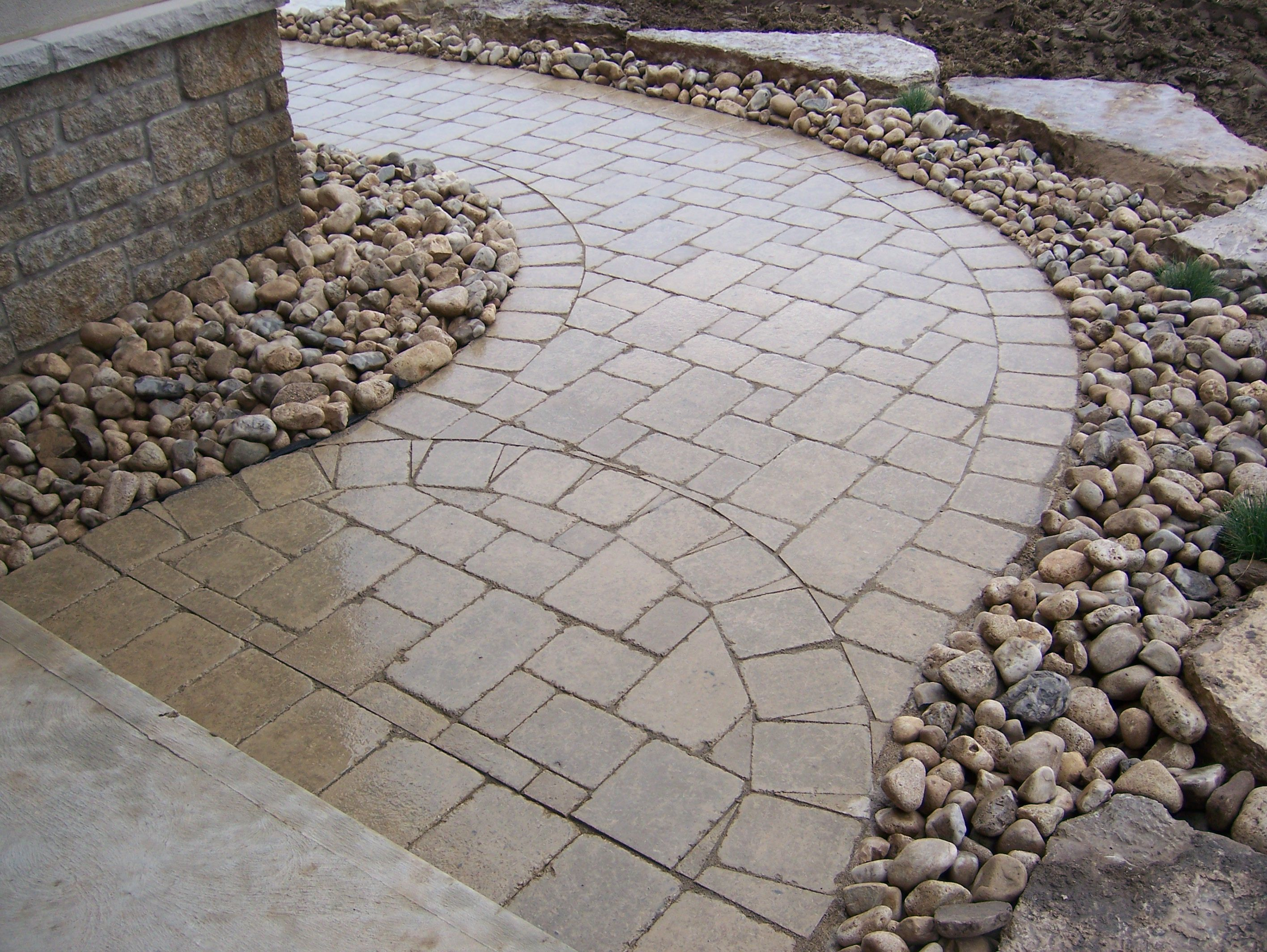 interlocking brickpathway interlocking brickpathway Backyard ideas