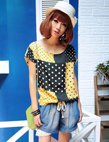 Stylish Dots Printed Color Panel Tee for Women