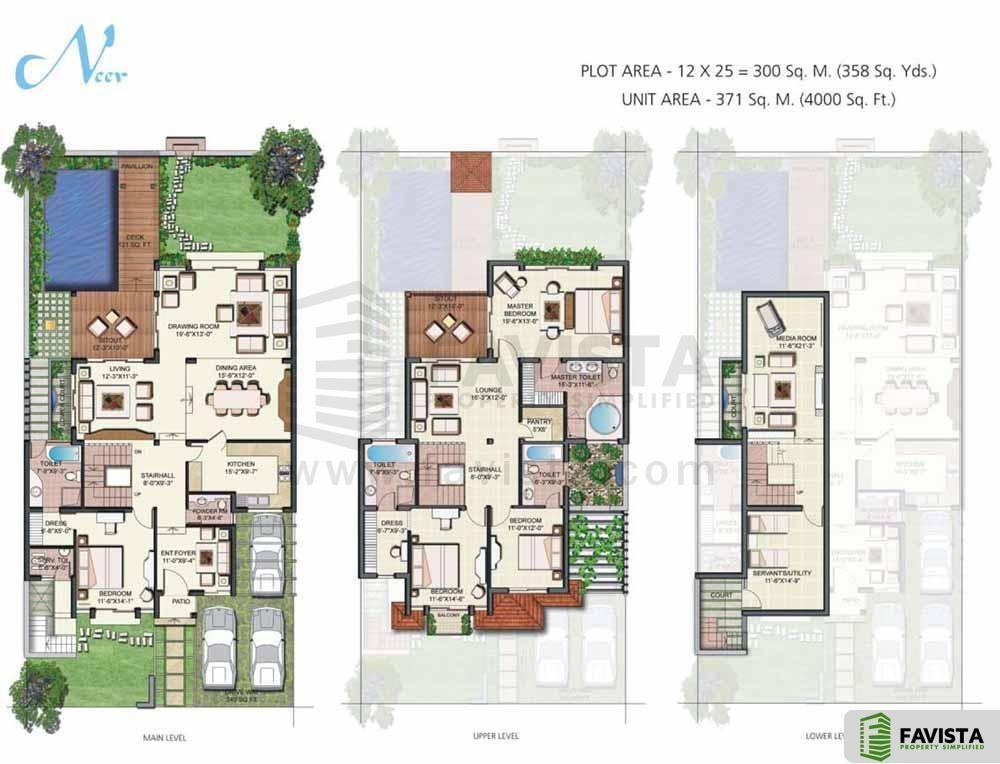 Vipul Tatvam Villas 4 Bhk Villa Servant Room 4000 Sq Ft Floor Plan Floor Plans House Joy Flooring Sale
