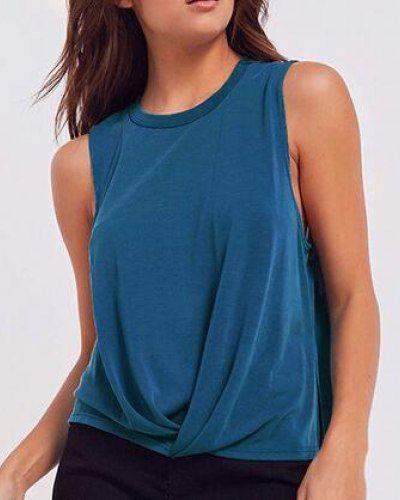 23dca455e3862 Blue twist front tank top side slit sleeveless t shirt for women ...