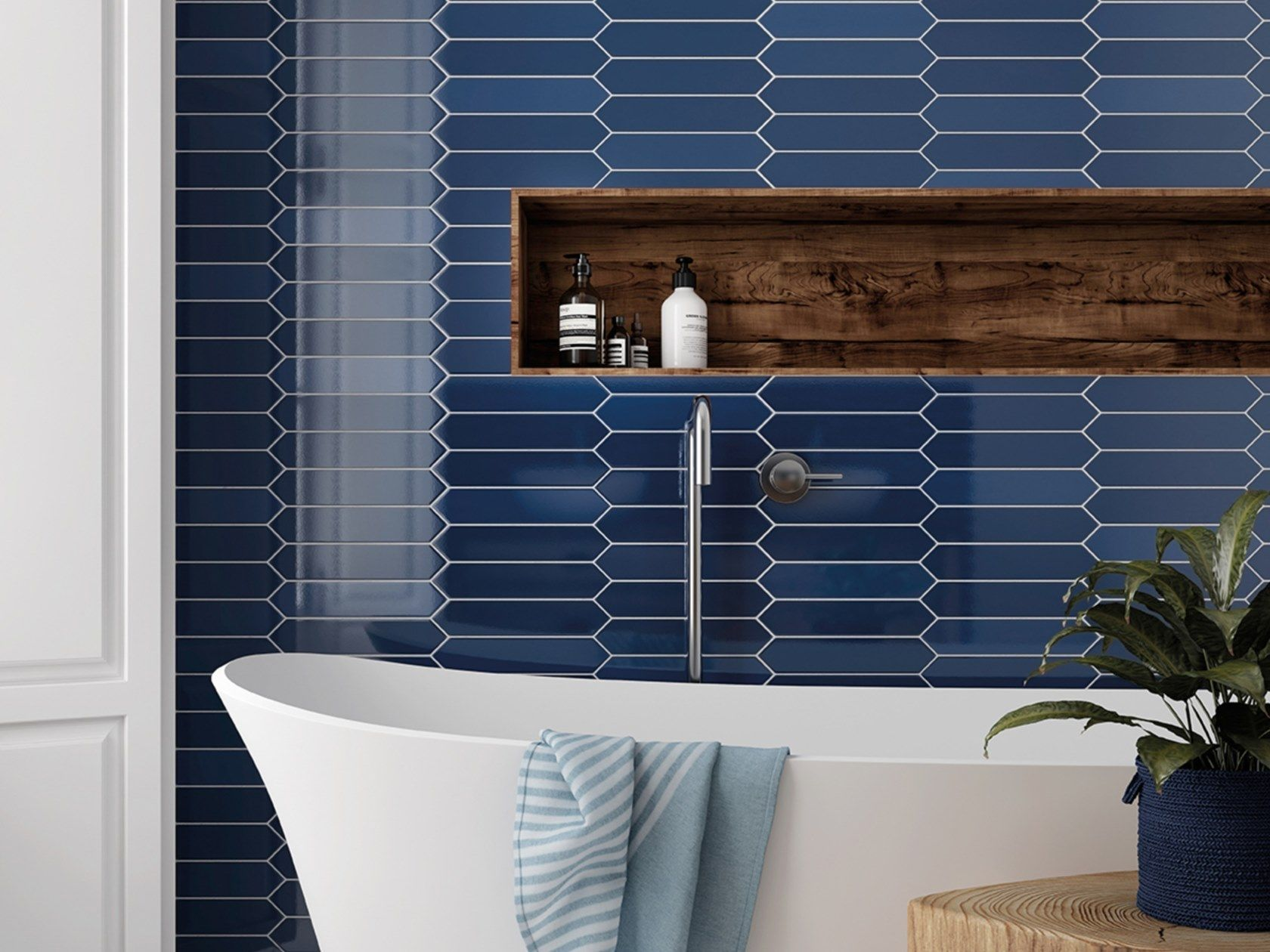 White Paste Wall Tiles Arrow By Equipe Ceramicas Blue Bathroom Tile Blue Tile Wall Dark Blue Walls
