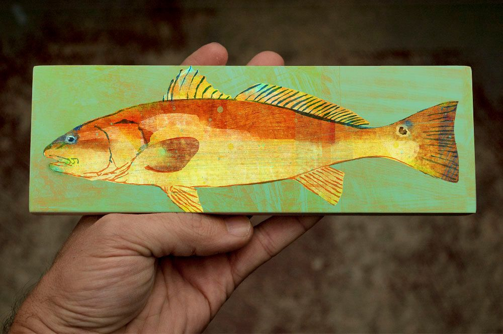 New to johnwgolden on Etsy: Medium Saltwater Fish Art Block- Red ...