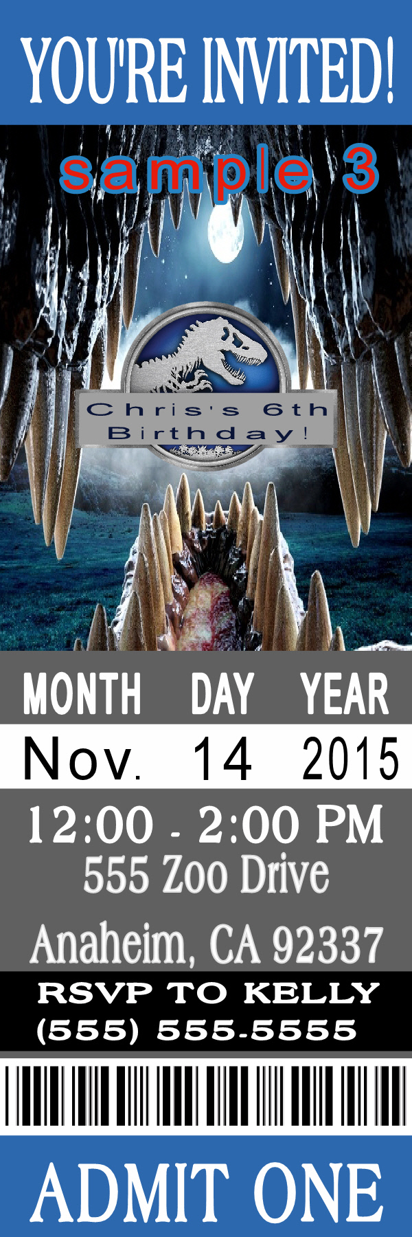 bday party invitation mail%0A Jurassic World ticket Birthday Invitation Click on the image twice to  place orders or follow