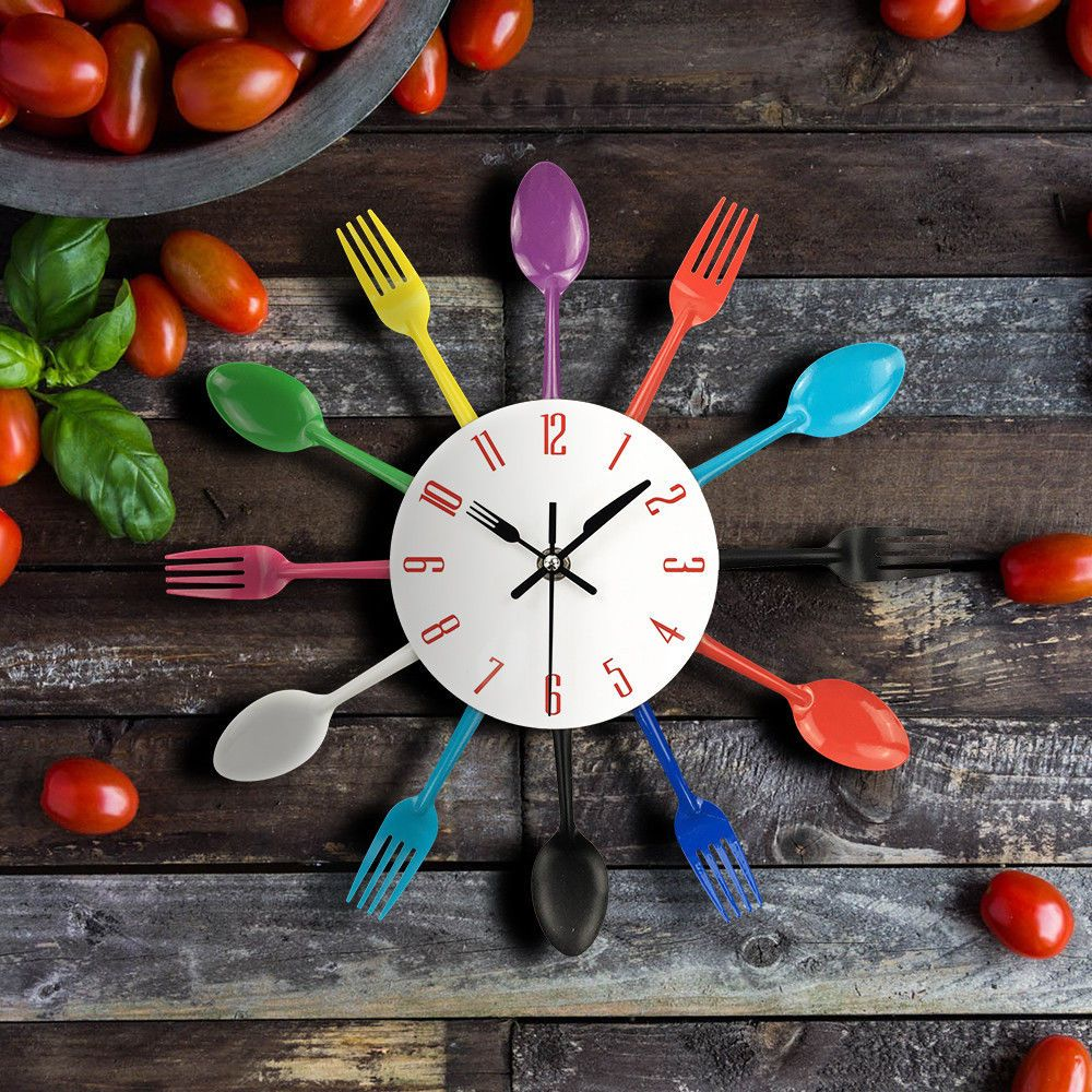 Wall Clock Spoon Fork Kitchen Utensil Modern