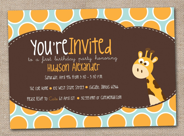 Giraffe Birthday Party Invitations Kids Printable DIY Design ...