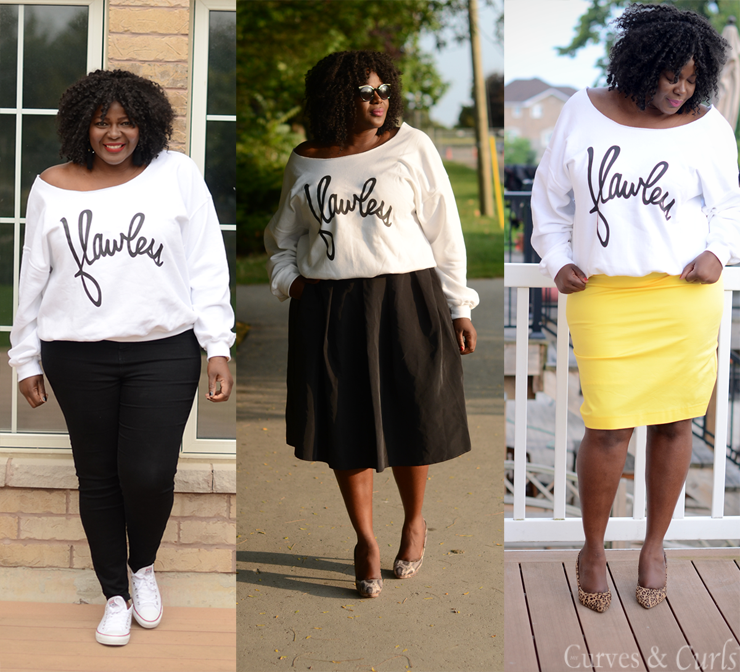 How to get the most out of your closet. Wear this sweater 3 ways. #plussize #curves #fashion #style #mycurvesandcurls