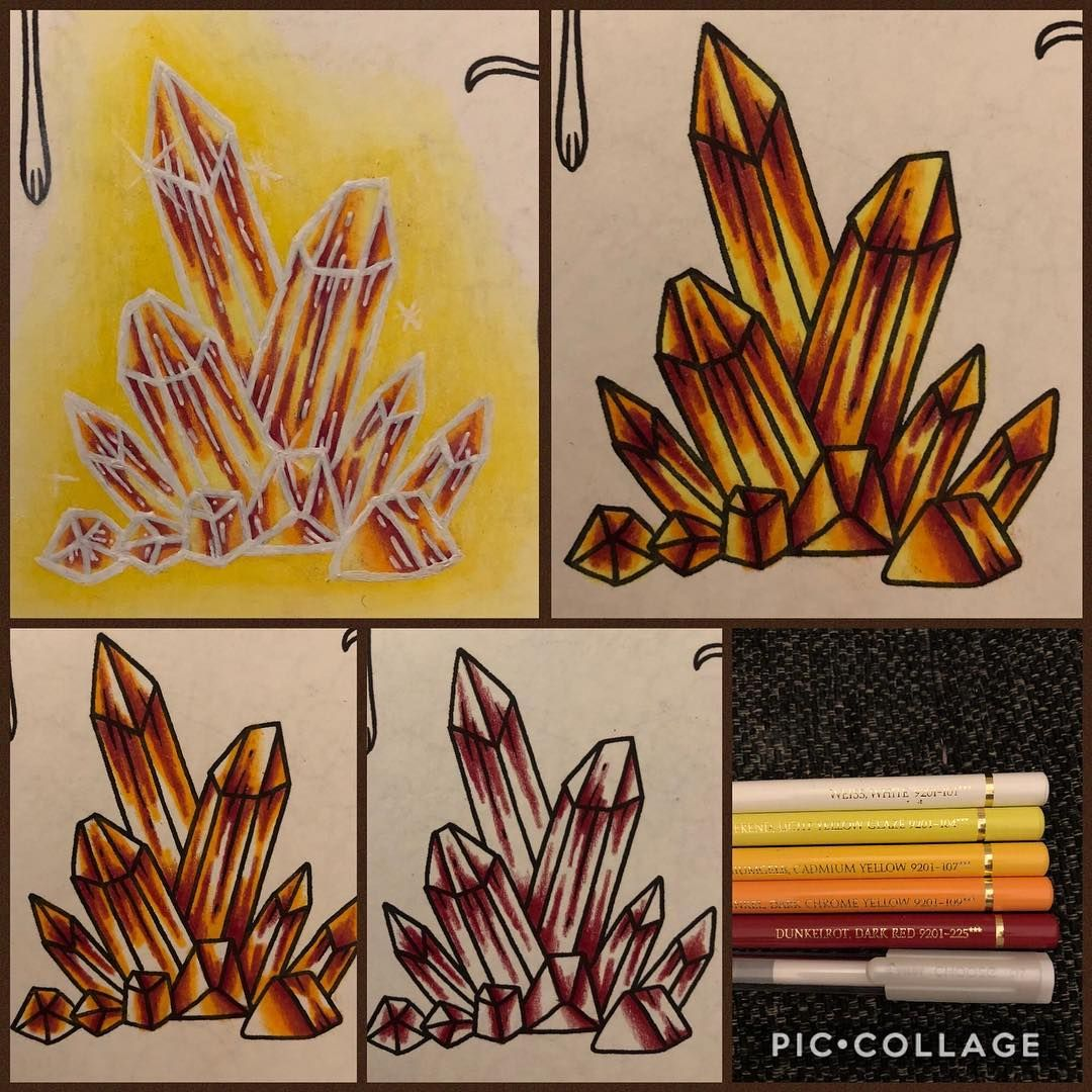 One Idea On How To Color Crystals I Usually Use Lighter Colors But Wanted To Try Something New Color Pencil Art Blending Colored Pencils Coloring Tutorial