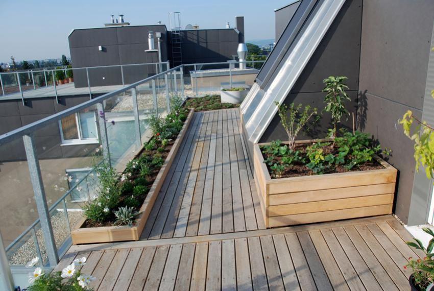 Holzpflanzgefasse Terrassen Deko Dachgarten Gartenboden