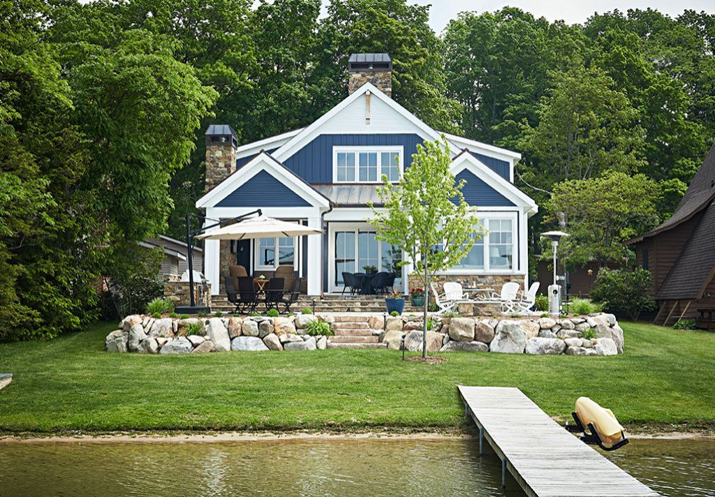 Cozy Lake Cottage In Blues And Wood Town Country Living Lake House Plans Michigan Lake House Lake Houses Exterior