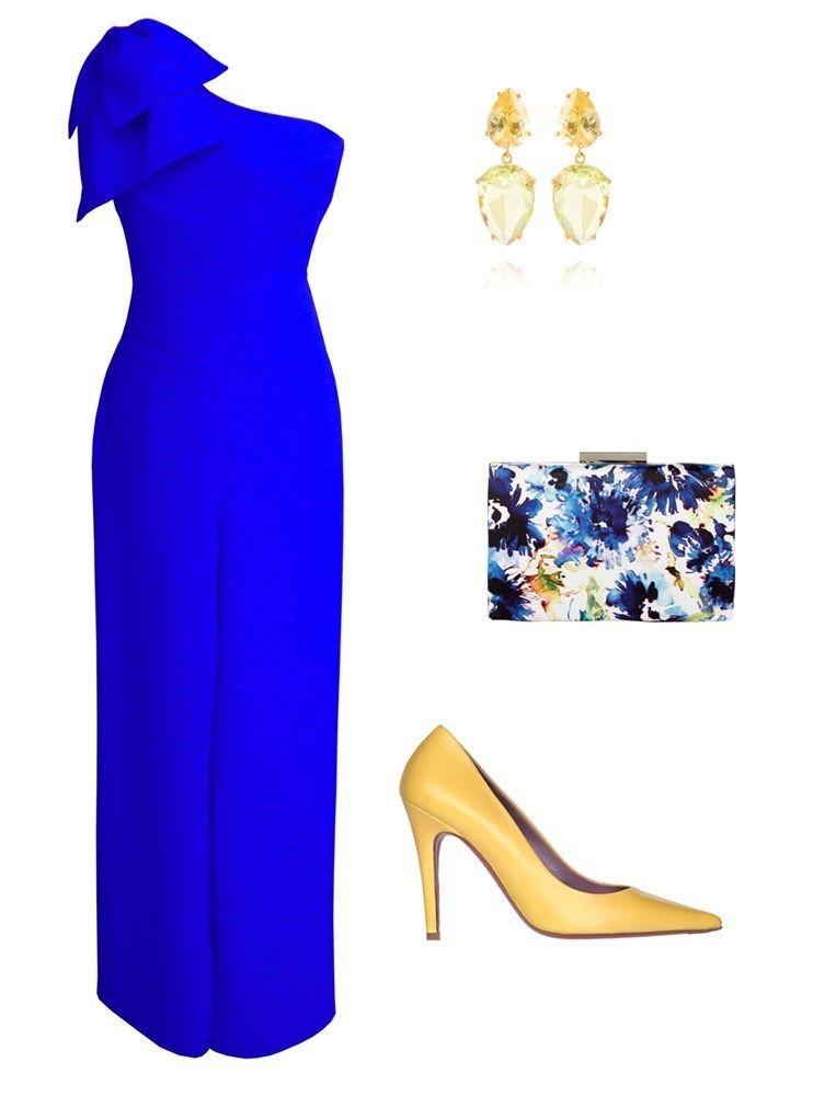 f4086f2003 Look para invitada a bodas con mono azul y zapato amarillo