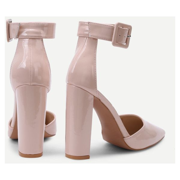 4854976f79 Block Heeled Ankle Strap Pumps -SheIn(Sheinside) (461.925 IDR) ❤ liked on Polyvore  featuring shoes, pumps, ankle wrap pumps, block heel shoes, ankle strap ...