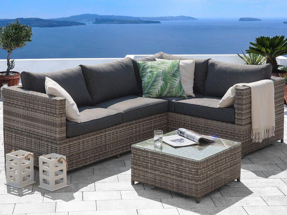 Salon De Jardin En Rotin Gris Avola In 2020 Garden Sofa Set Rattan Garden Furniture Sets Rattan Garden Furniture
