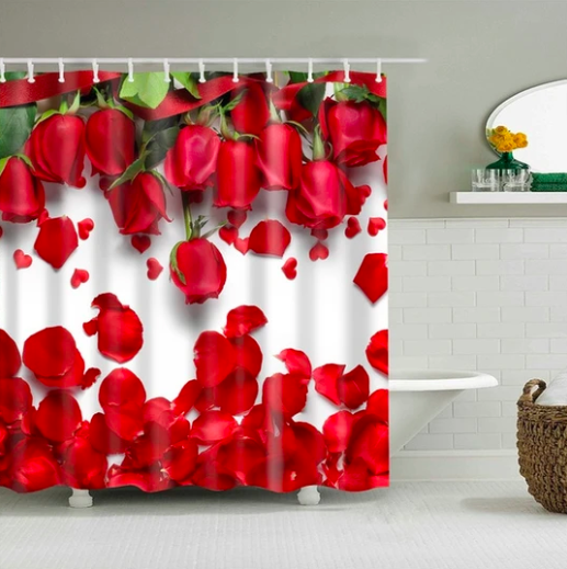 Red Roses Fabric Shower Curtain In 2020 Floral Shower Curtains