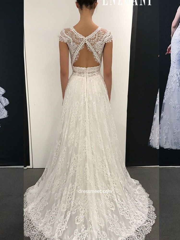 6d4d5d053f Elegant A Line V Neck Open Back Ivory Lace Long Wedding Dresses, Fairy Wedding  Dresses, Beach Wedding Dresses | Dressmeet.com