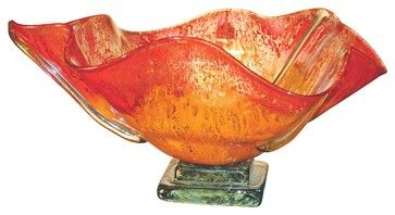 Contemporary Decorative Bowls Orange Glow Round Glass Bowl  Contemporary  Decorative Bowls