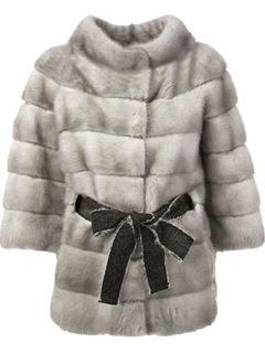 daa1369aecab Liska Belted Coat | F/W 2015 | Grey fur jacket, Fur jacket, Coat