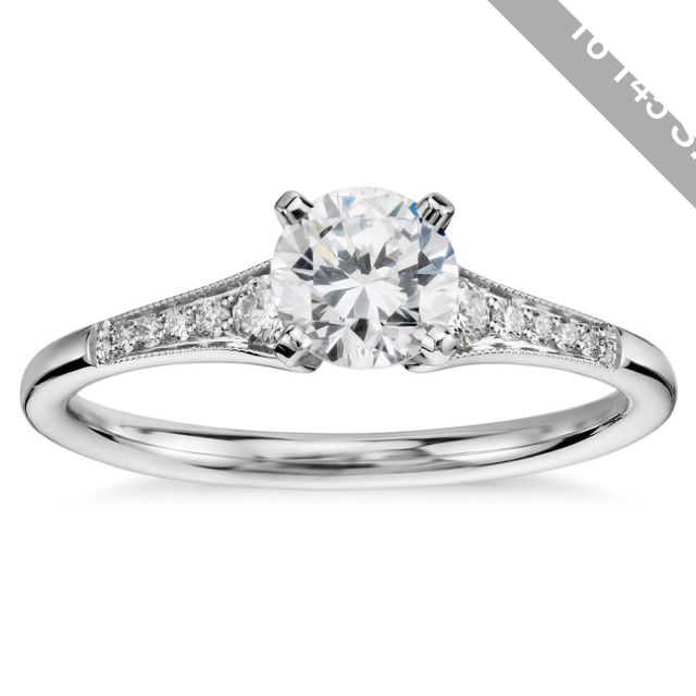 Blue Nile 1/2 Carat Preset Graduated Milgrain Diamond Engagement Ring