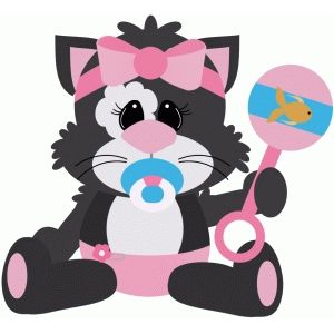 Baby Cat Holding Rattle Free Svg Invites Silhouette Design