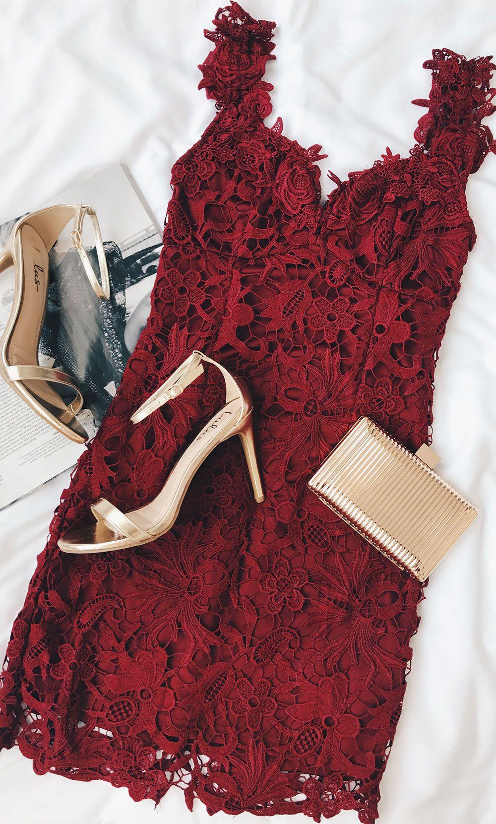 Uno dos lace burgundy lace bodycon dress clothes dream closets