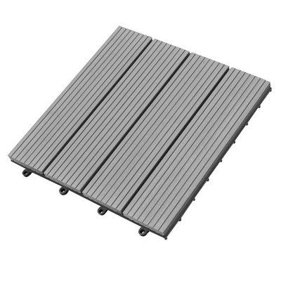 Abba Patio 12 X Plastic Interlocking Deck Tile In Gray