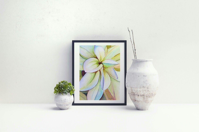 Dipinto raffigurante una dalia bianca acquerello fatto a mano