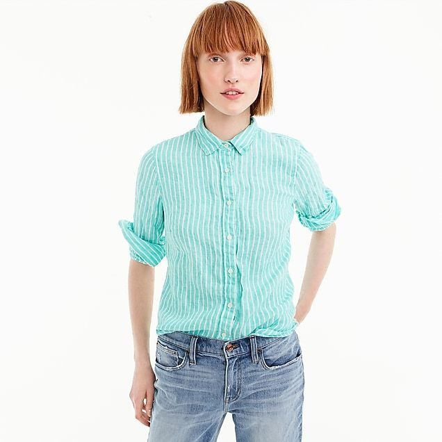 057cab2f5 jcrew $45 (43% off) women's slim perfect shirt in striped irish linen -  women's shirts