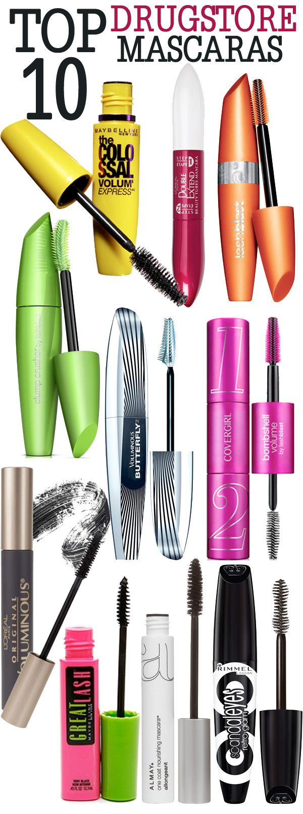 Top 10 Drugstore Mascaras.   Beauty tips, Good mascara and Eyelashes