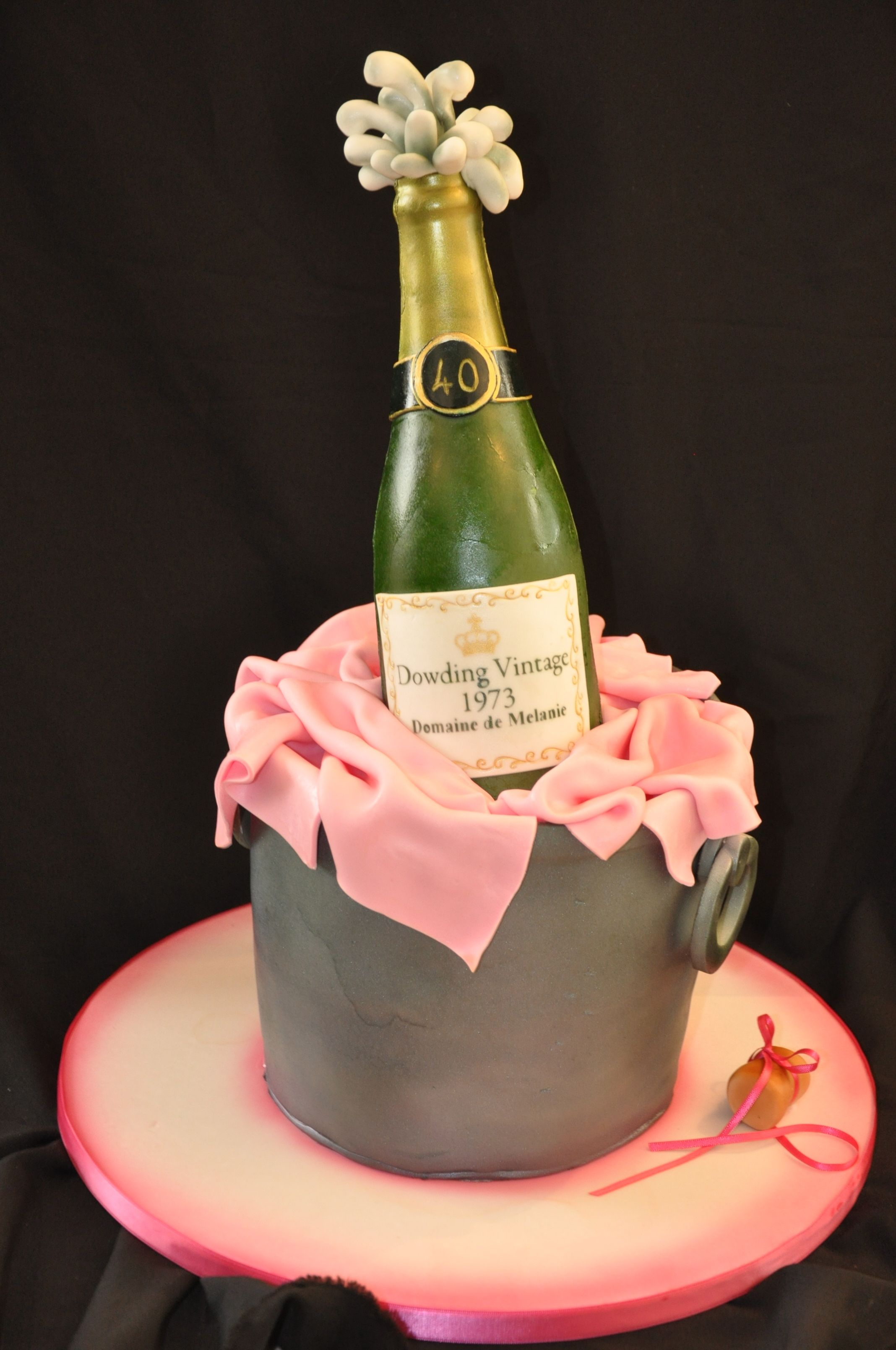 Images Of Birthday Cake And Champagne : Champagne bottle in a bucket cake. All edible. From Pink ...