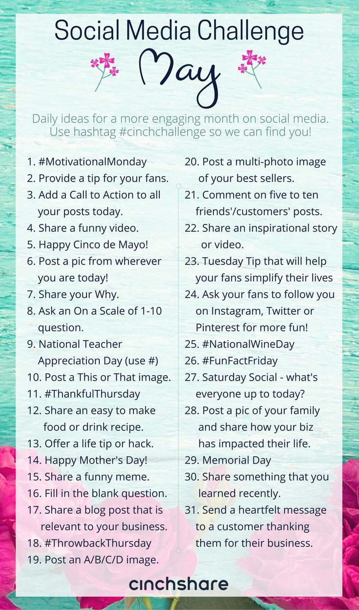 May Social Media Challenge - CinchShare Blog