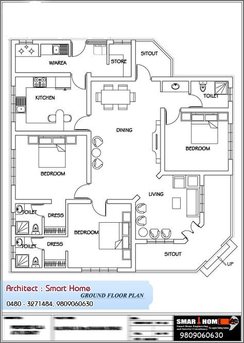 Kerala Style Single Floor House Plan at 1680 Sq Ft