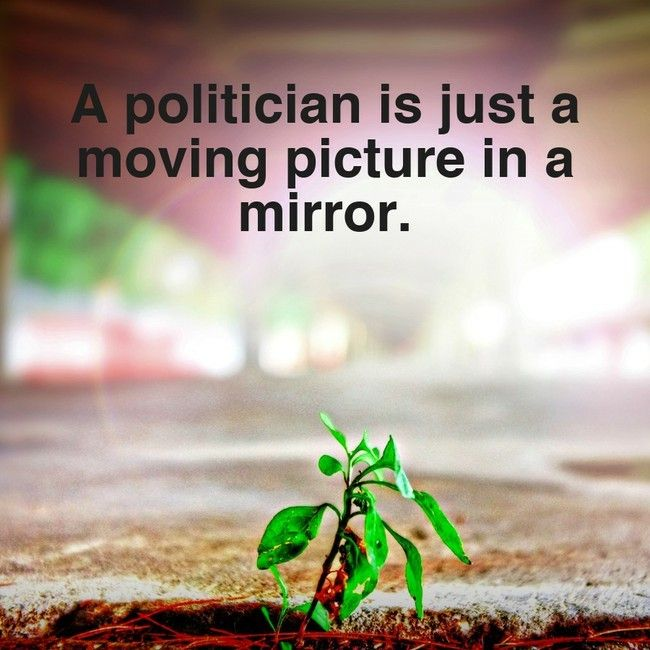 A politician is just a moving picture in a mirror. Political quotes inspiration