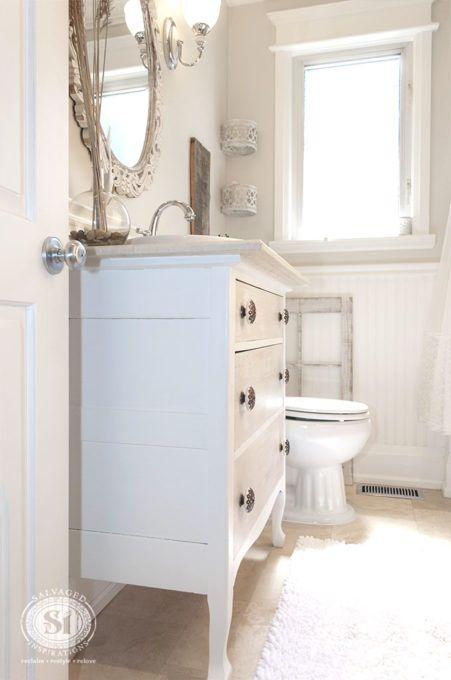 salvaged bathroom reveal house dresser vanity bathroom bathroom rh pinterest com