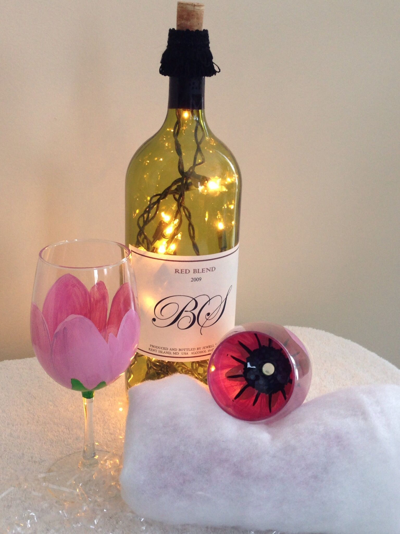 Hand painted flower wine glasses