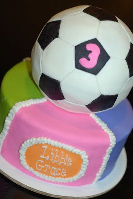 Libbie Graces soccer birthday cake by our neighbor Tricia Harris